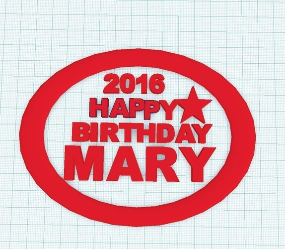 Happy Birthday Mary 3D Print 97295