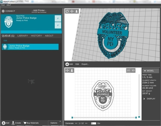 NYPD Junior Volunteer Police Badge 3D Print 97891