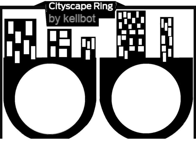 Cityscape Ring - we love you! 3D Print 97940