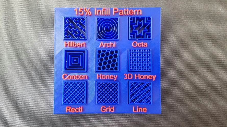 Display Tray for Infill Pattern and Infill Density 3D Print 98143