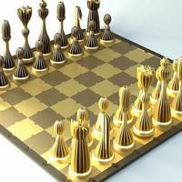 Small Striped Chess with board all printable 3D Printing 98856