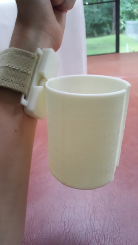 Articulated Wrist Mounted Cup Holder 3D Print 99419