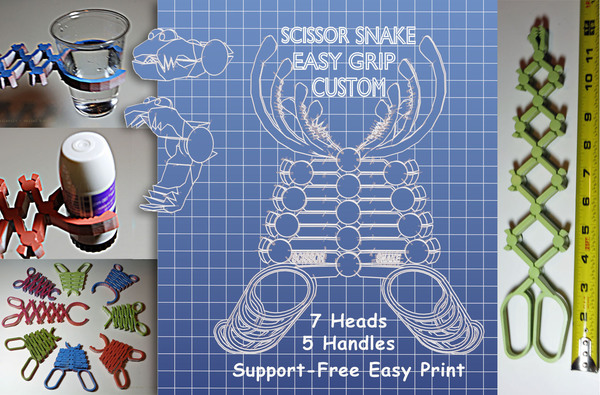 Medium Scissor Snake Easy Grip Custom 3D Printing 99646
