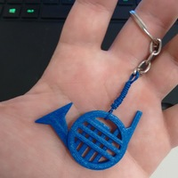 Small Blue French Horn 3D Printing 10216