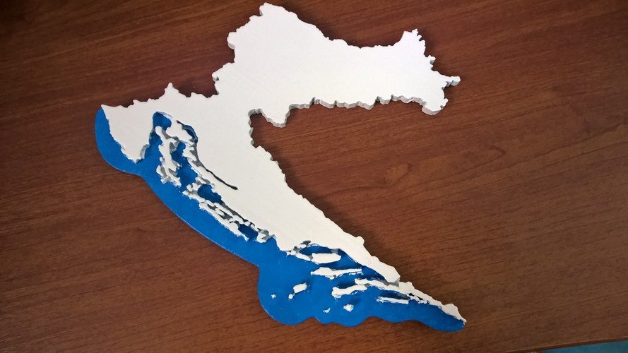 map of CROATIA 3D Print 10586