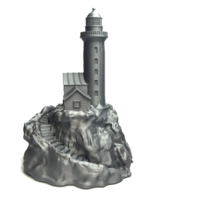 Small Lighthouse on a rock. 3D Printing 10856