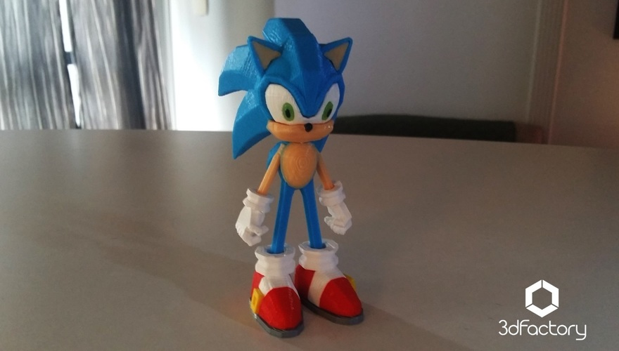 Sonic - 3dPrint - 3dFactory 3dPrintable ZERO Support 3D Print 11092