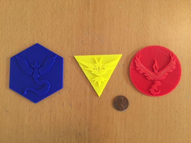Pokemon Go Team Badges and Logos 3D Print 11449