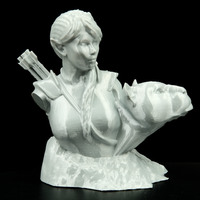 Small Bust - The Huntress v1.2 3D Printing 11680