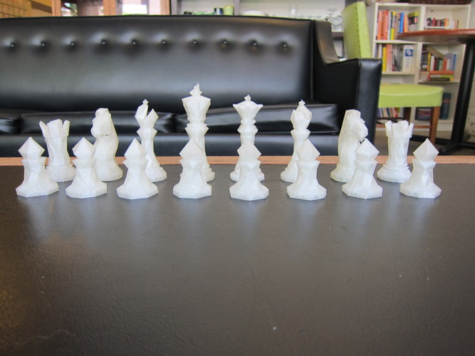 Faceted Chess Set  3D Print 1178