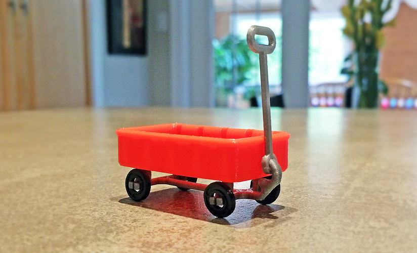 Red Wagon +/- SD card holder 3D Print 12252