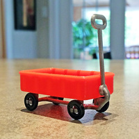 Small Red Wagon +/- SD card holder 3D Printing 12252