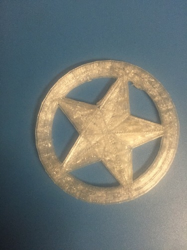 Proto-pasta Sheriff Star Badge Metal Composite Test Piece 3D Print 13119