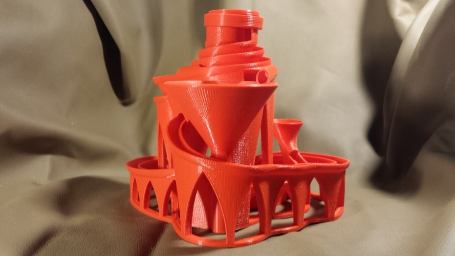 The Cyclone: triple lift, triple track marble machine 3D Print 13223