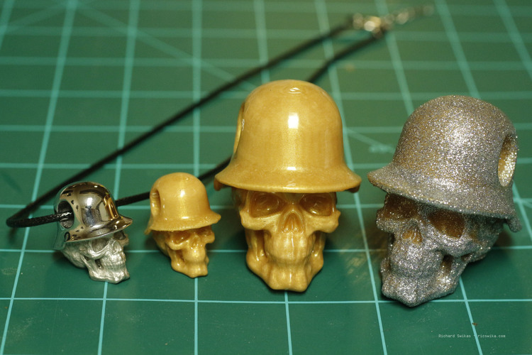 Hole in Head Army Skull Pendant 3D Print 13498