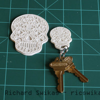 Small Sugar Skull Key Ring 3D Printing 13858