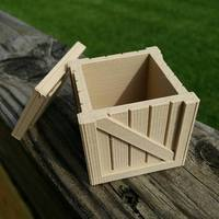 Small Wooden Crate with lid 3D Printing 14128