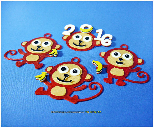 2016  YEAR OF The MONKEY-Keychain / Magnets  3D Print 14530