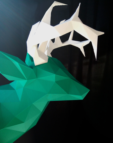 Faceted Deer Head 3D Print 14547