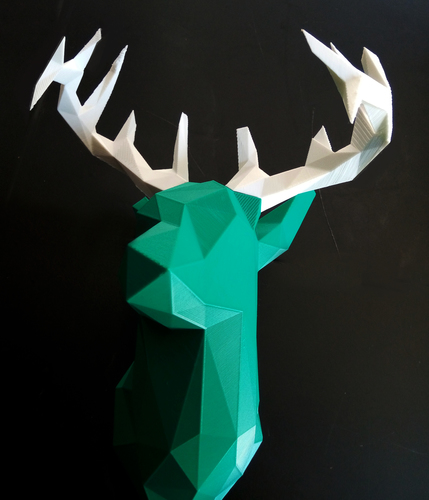 Faceted Deer Head 3D Print 14548