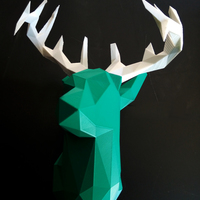 Small Faceted Deer Head 3D Printing 14548