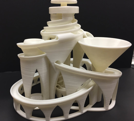The Cyclone: triple lift, triple track marble machine 3D Print 14627