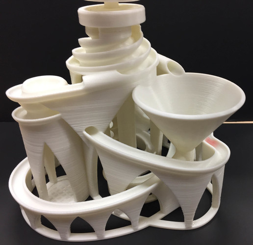 The Cyclone: triple lift, triple track marble machine 3D Print 14629