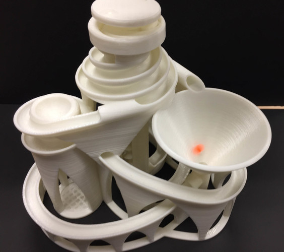 The Cyclone: triple lift, triple track marble machine 3D Print 14630