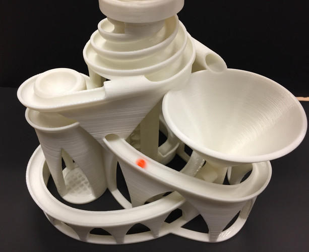 The Cyclone: triple lift, triple track marble machine 3D Print 14632
