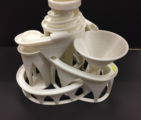 The Cyclone: triple lift, triple track marble machine 3D Print 14633