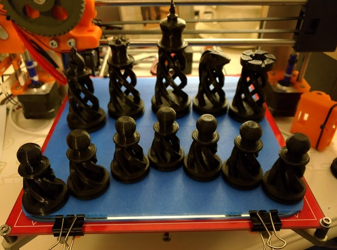 Spiral Chess Set (Large) 3D Print 1488