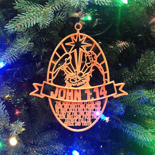 Christmas Ornament John 1:14 Oval Design 3D Print 15253