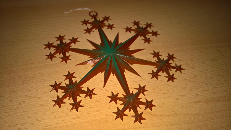 Star and Snowflake Star Ornament 3D Print 16080