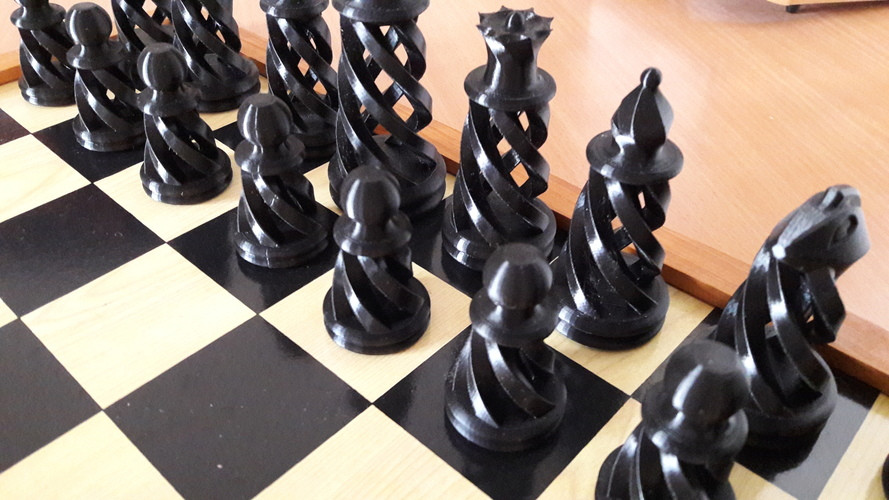 Spiral Chess Set (Large) 3D Print 16178