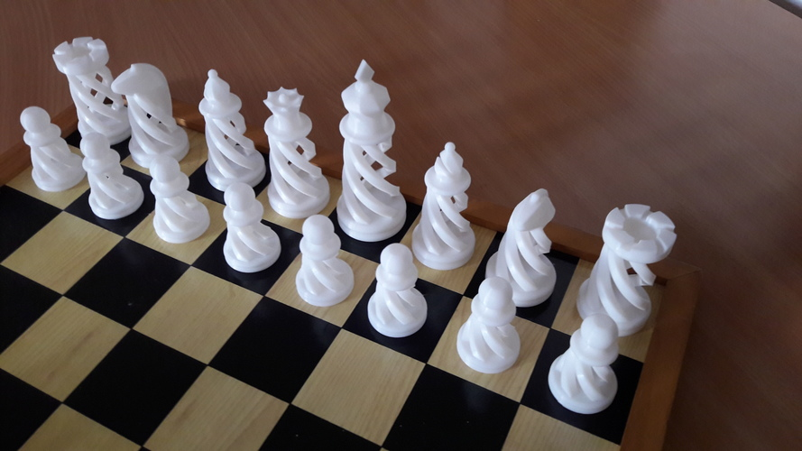 Spiral Chess Set (Large) 3D Print 16181