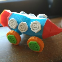 Small Crazy Rocket with Wheels and a Secret Compartment 3D Printing 1670