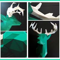 Small Faceted Deer Head 3D Printing 17193