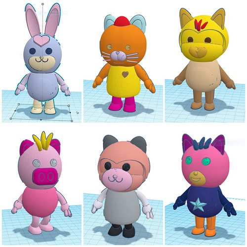 3DP Cute animal family 3D Print 18001