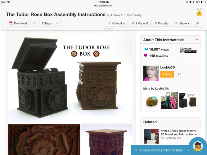 The Tudor Rose Box (with secret lock) 3D Print 18986