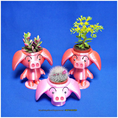 Cute animal - Rose pig potted 3D Print 19725