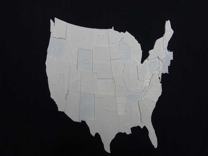USA Braille Map: Feel The World 3D Print 20065