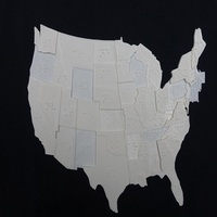 Small USA Braille Map: Feel The World 3D Printing 20065