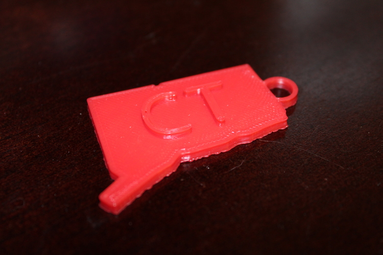 Connecticut Key Chain 3D Print 20296