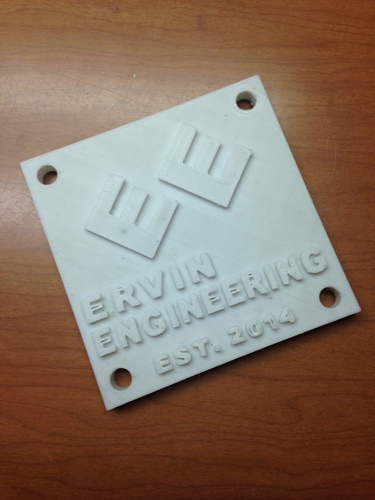 Ervin Engineering Plaque 3D Print 2068