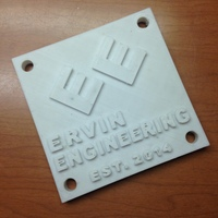 Small Ervin Engineering Plaque 3D Printing 2068