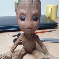 Small baby groot with base 3D Printing 20726