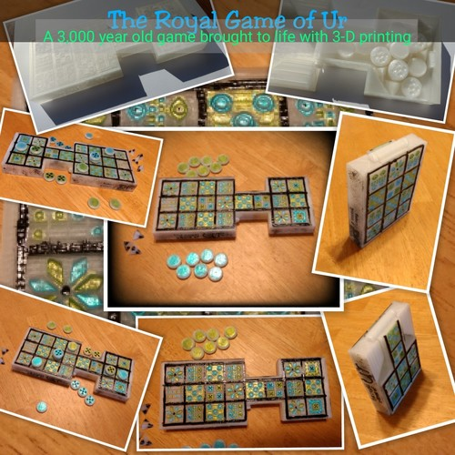 Royal Game of Ur with Print-in-place hinged board 3D Print 20846