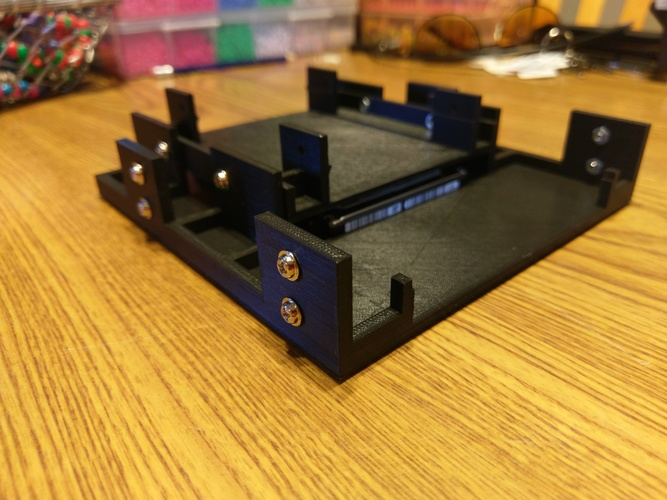 "5.25"" to 1x 3.5"" and 1x 2.5"" Drive Adapter V2 3D Print 21238"