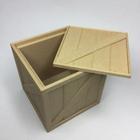 Small Wooden Crate with lid 3D Printing 21681