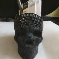 Small Wireframe Skull Pencil Holder (For The Love of Dog) 3D Printing 21826